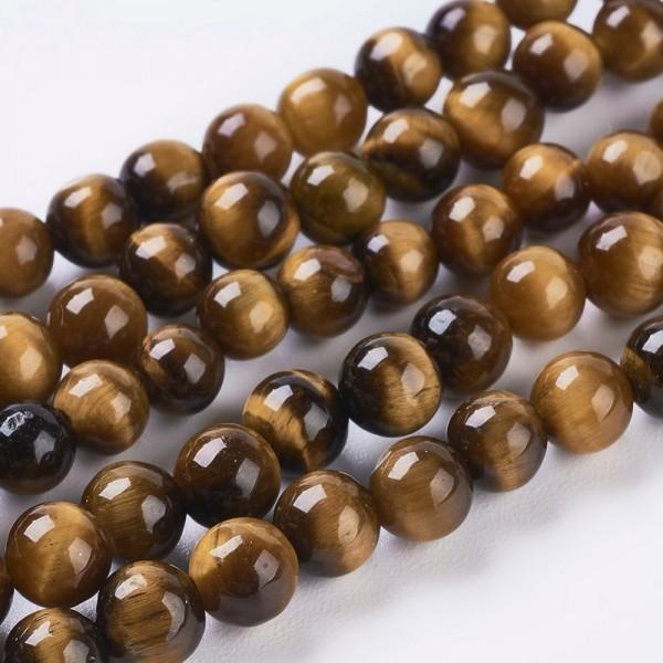 Natürlicher kurzer Tigerauge Perlenstrang glatt glänzend 3 mm (ca. 50 Perlen / ca. 18,5 cm Länge)