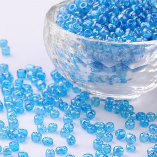 50 Gramm Rocailles transparent blau