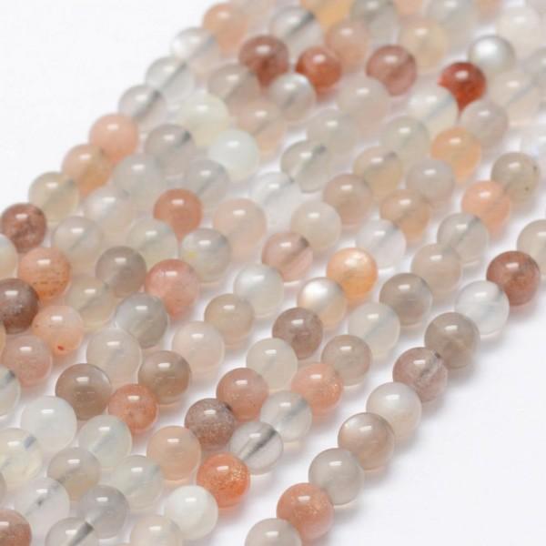 15 natürliche Mondstein Perlen rund glatt glänzend 4 - 5 mm