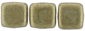 30 hochwertige tschechische Glasperlen 6 x 6 mm doppelt gebohrt Saturated Metallic Golden Lime