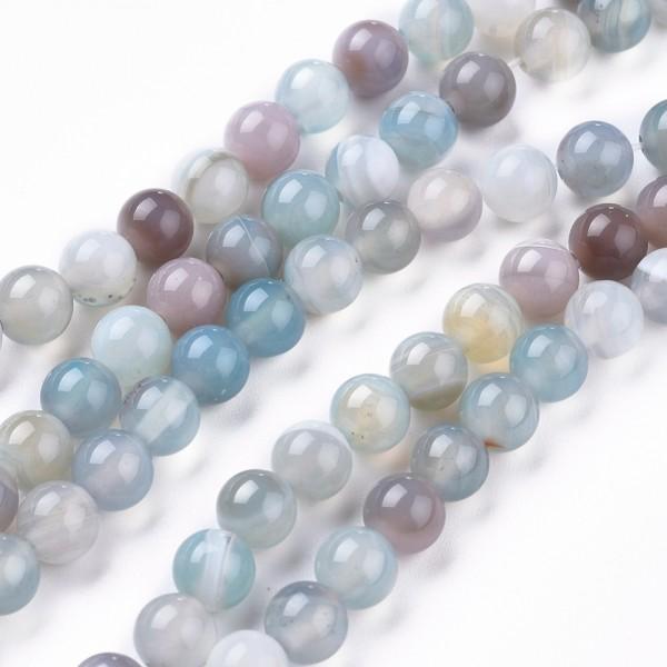Natürlicher Achat Perlenstrang rund glatt glänzend 6 mm (ca. 65 Perlen / ca. 38,5 cm Länge)
