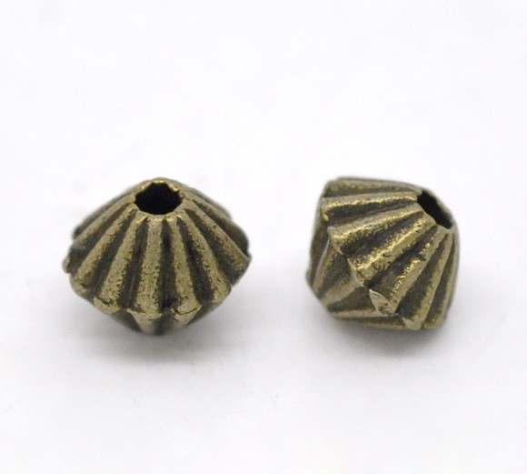 20 Metall Zwischenperlen Doppelkegel bronzefarben