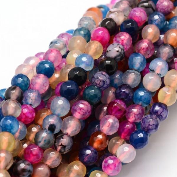 Facettierter Achat Perlenstrang 6 mm bunt (ca. 64 Perlen / ca. 37,5 cm Länge)