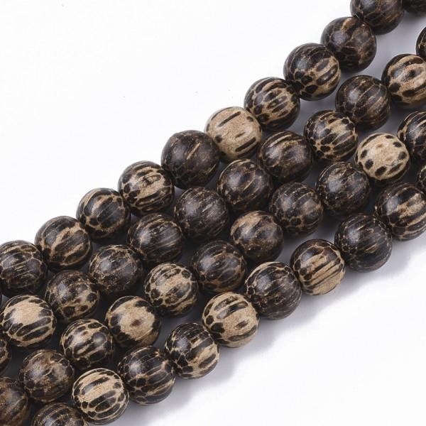 20 ungefärbte natürliche Bodhi Holzperlen dunkelbraun 9 x 8 mm
