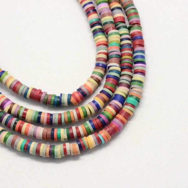 1 Strang handgmachte Polymer Clay Perlen Scheiben 6 x 1 mm (ca. 380 Perlen / ca. 48 cm Länge)