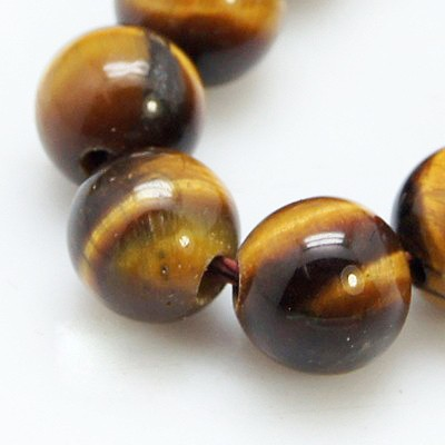 Tigeraugen Perlenstrang kurz glatt glänzend rund 6 mm (ca. 30 Perlen / ca. 19 cm lang)