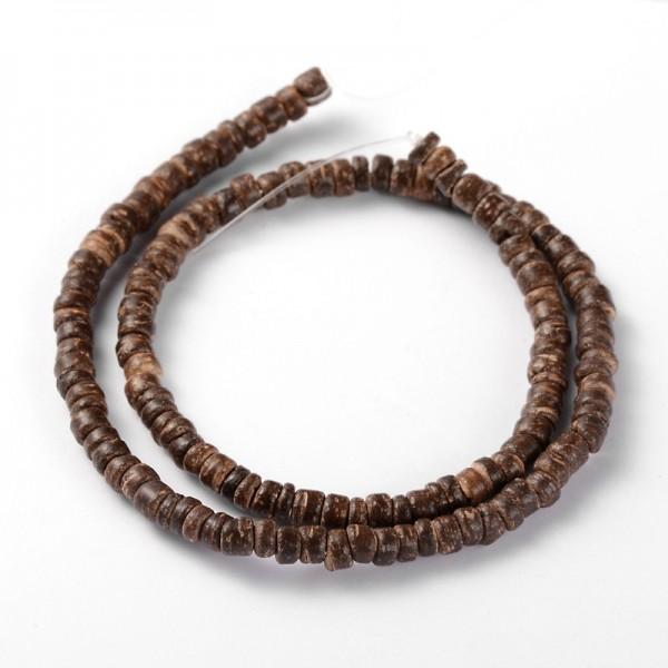 Kokosnussschalen Perlenstrang braun 5 x 2-5 mm (ca. 134 Perlen / ca. 38 cm Länge)