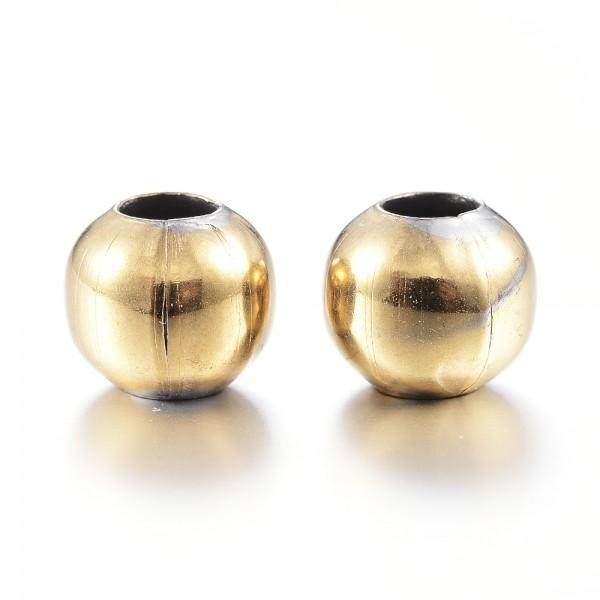20 vakuumbeschichtete Edelstahlperlen goldfarben 4 mm