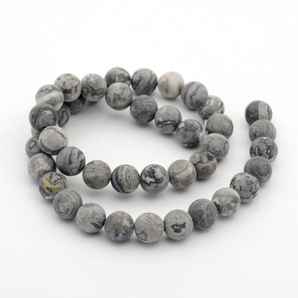 1 Strang Naturstein Perlen 8 mm (ca. 50 Perlen / 38 cm lang) grau glatt glänzend