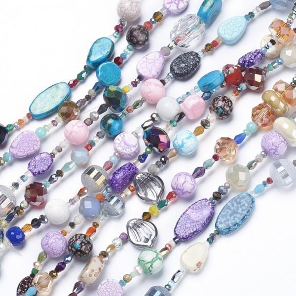 Glasperlenstrang Farben- und Formenvielfalt ca. 60 - 80 Perlen ca. 37 cm Länge