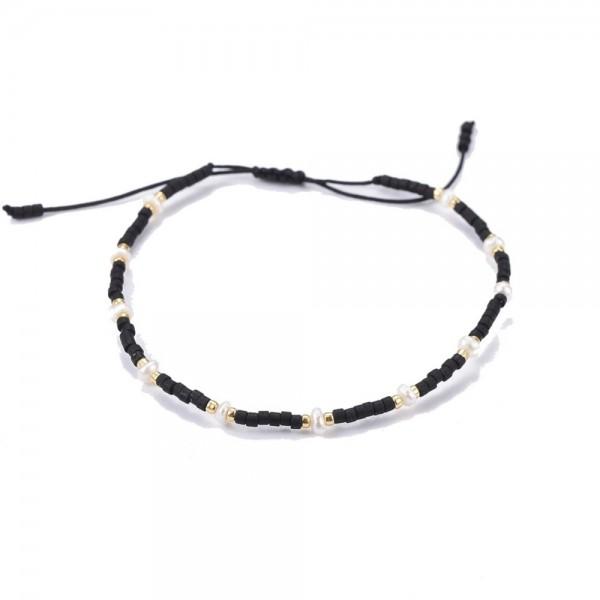 Verstellbares Armband mit japanischen Rocailles und Metallperlen schwarz