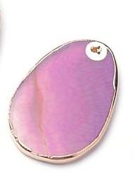 Natürlicher rosafarbener Achat Anhänger mit goldfarbenem Rand