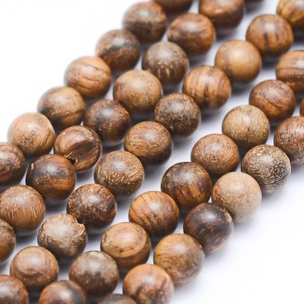 Natürlicher ungefärbter Padouk Holzperlenstrang rund 6 mm (ca. 63 Perlen / ca. 40 cm Länge)