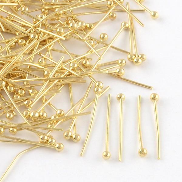 30 Kugelkopfstifte goldfarben 3,2 cm Länge