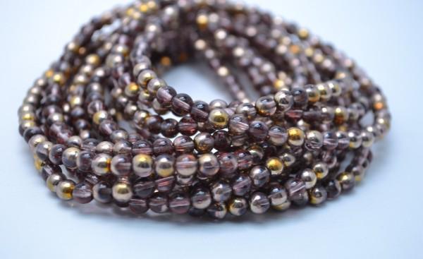 1 Strang tschechische Glasperlen dunkelbraun goldfarben 5 mm (ca. 50 Perlen / ca. 26 cm Länge)