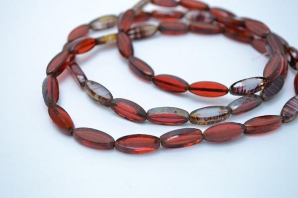 5 hochwertige tschechische Glasperlen rot oval 15 x 5 mm