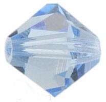 20 Österreichische Kristall Perlen saphirfarben Doppelkegel 4 mm