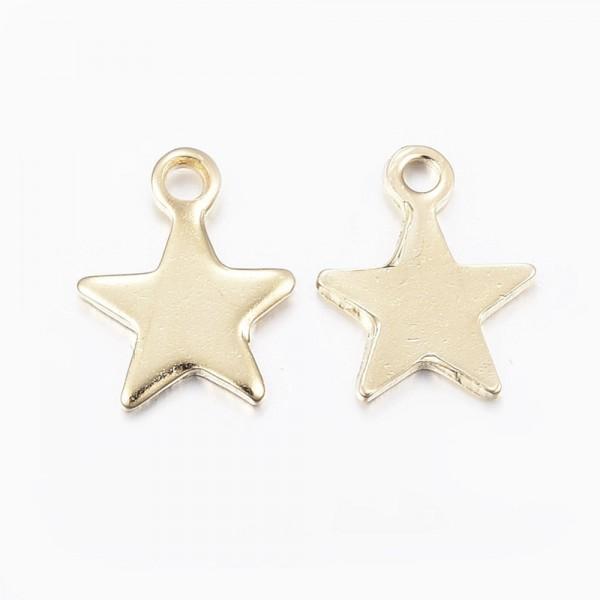 3 zierliche Edelstahl Sterne Charm Anhänger 10 x 8 x 1 mm goldfarben