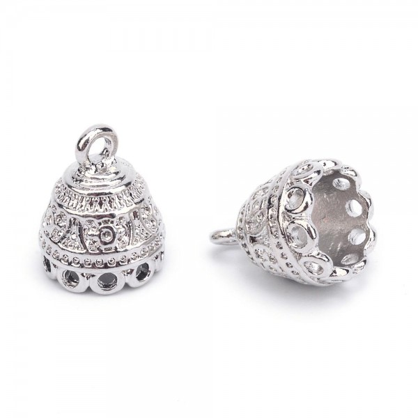2 Perlenkappen Endkappen mit Öse silberfarben