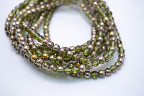 1 Strang hochwertige tschechische Glasperlen oliv goldfarben 5 mm (ca. 50 Perlen / ca. 26 cm Länge)