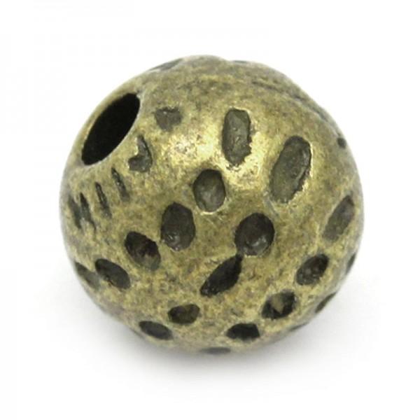 10 Metall Perlen rund bronzefarben