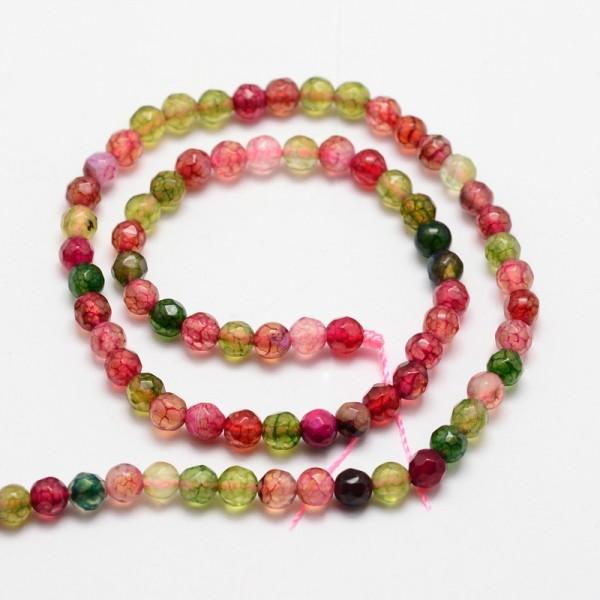Achat Perlenstrang facettiert gefärbt Farbmix 4 mm (ca. 92 Perlen / ca. 37 cm Länge)