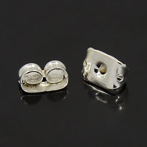 20 Ersatz Ohrring Verschlüsse Ohrmuttern aus Eisen silberfarben 5 x 3,5 mm