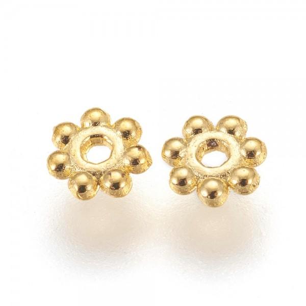 30 Metallperlen Zwischenperlen Spacer Blume tibetischer Stil goldfarben 4 x 1,5 mm