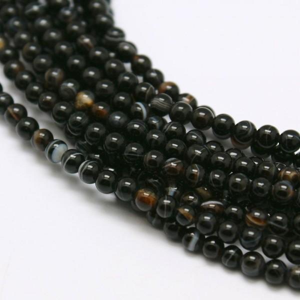 Natürlicher Achatperlenstrang schwarz 3 mm (ca. 126 Perlen / ca. 38 cm Länge)