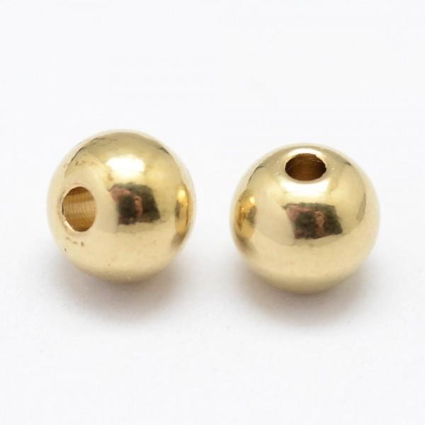 20 runde Messing Perlen goldfarben 4 x 4 mm