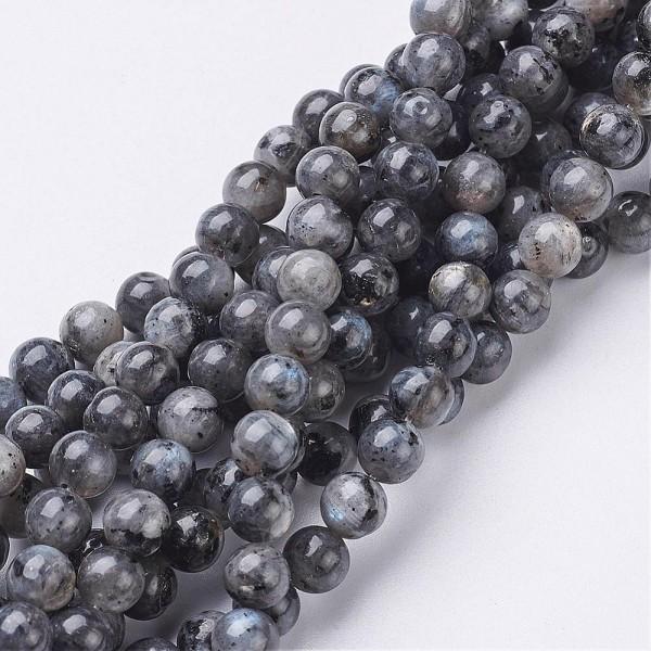 Natürlicher Labradorit Perlenstrang rund glänzend 6 mm (ca. 62 Perlen / ca. 38 cm Länge)