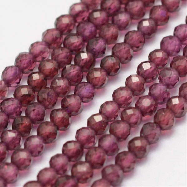 Natürlicher zierlicher Granat Perlenstrang facettiert 2 mm (ca. 178 Perlen / ca. 39 cm Länge)
