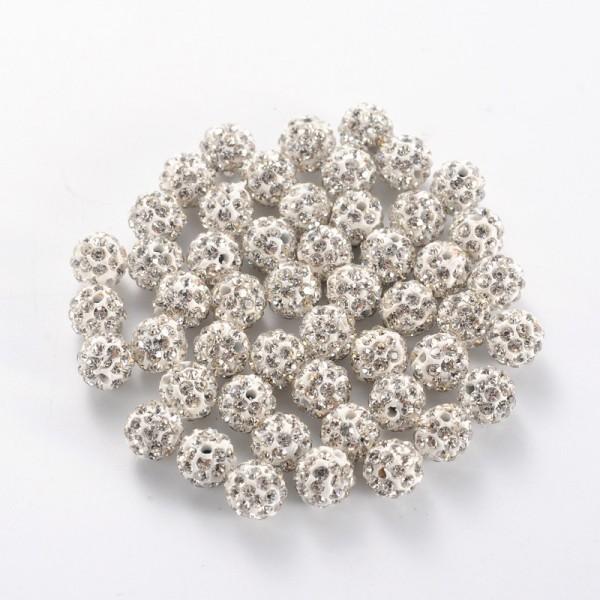 Polymer Strass Perle rund Klasse A mit Kristallen 6 mm