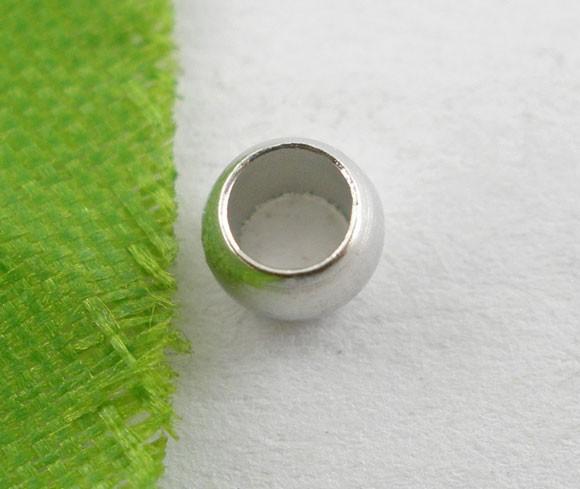 100 Quetschperlen rund silberfarben 4 mm