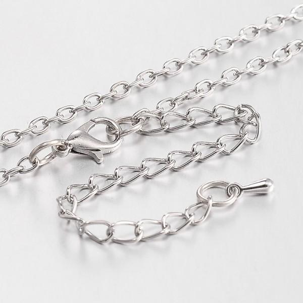 Lange Kette Halskette aus Eisen platinfarben 80 mm Länge mit Karabinerverschluß