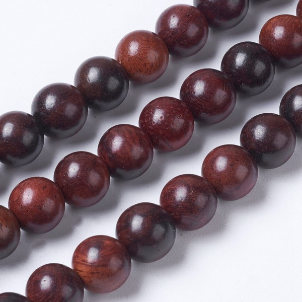 Natürlicher Rosenholz Holzperlenstrang rund 6 mm (ca. 64 Perlen / ca. 40 cm Länge)