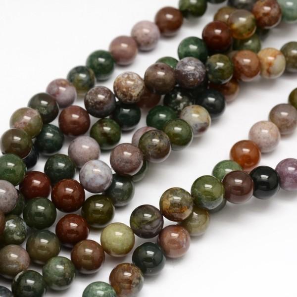 Natürlicher indischer Achatperlenstrang rund glatt glänzend 6 mm (ca. 62 Perlen / ca. 39,5 cm Länge)