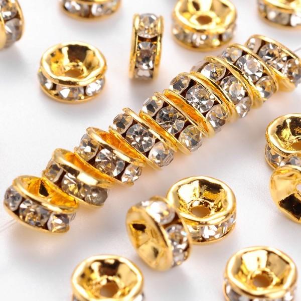10 Messing Strassrondelle Zwischenperlen Klasse A goldfarben 6 x 3 mm