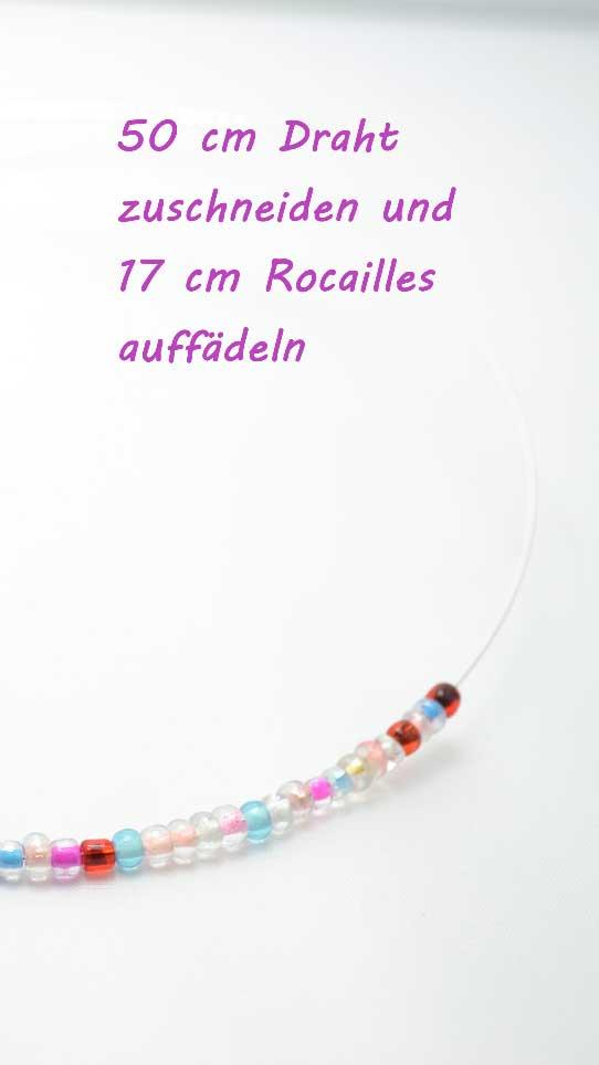 50cm Draht zuschneiden und 17cm Rocailles auffädeln