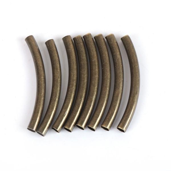 3 Zwischenperlen gebogenes Rohr bronzefarben