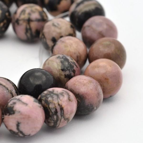Natürlicher Rhodonit Perlenstrang rund glatt 8 mm (ca. 47 Perlen / ca. 39 cm Länge)