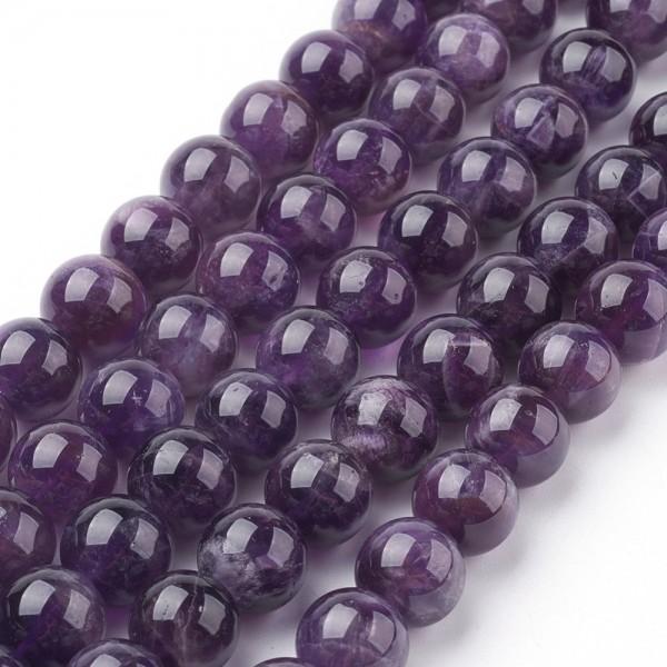 Natürlicher zierlicher kurzer Amethyst Perlenstrang rund glatt glänzend 4 mm (ca. 46 Perlen / ca. 20