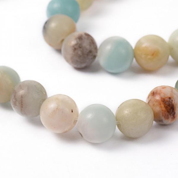 Natürlicher Amazonit Perlenstrang rund glatt glänzend 8 mm (ca. 47 Perlen / ca. 38,5 cm Länge)