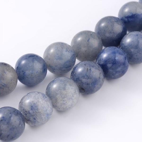 Natürlicher blauer Aventurin Perlenstrang rund glatt 6 mm (ca. 63 Perlen / ca. 37,5 cm Länge)