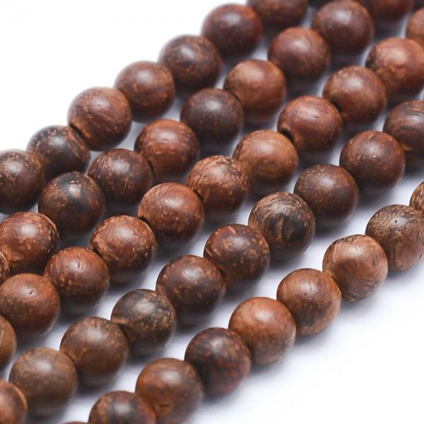 Natürlicher Sandelholz Perlenstrang rund 6 mm (ca. 64 Perlen / ca 40 cm Länge)