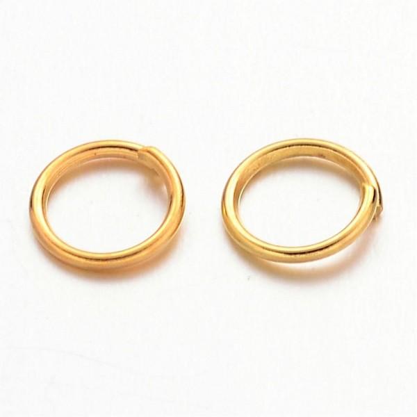 100 Eisen Biegeringe Binderinge offen goldfarben 6 mm