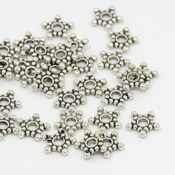 30 Metall Zwischenperlen tibetischer Stil antik silberfarben 8,8 mm