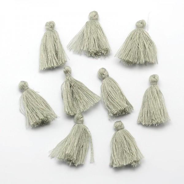 3 Baumwollfaden Quasten Anhänger grau