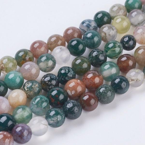 Natürlicher kurzer Achat Perlenstrang glatt glänzend 4 mm (ca. 43 Perlen / ca. 19 cm Länge)