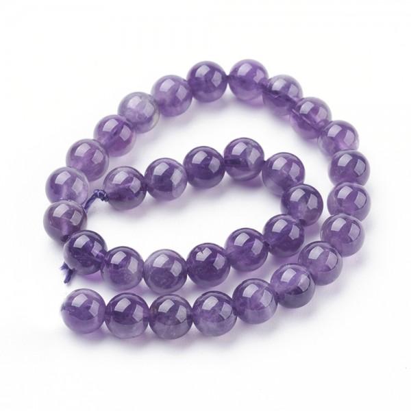 Natürlicher Amethyst Perlenstrang rund glatt glänzend 6 mm (ca. 64 Perlen / ca. 40 cm Länge)